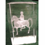 Crystal Weight w/Dressage Horse Etching