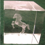 Crystal Weight w/Rearing Horse Etching - Lg