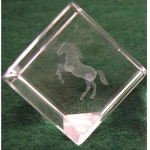 Crystal Weight w/Rearing Horse Etching