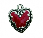 EquiCharm Red and Silver Heart Charm