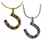 Exselle Horseshoe with Color Stones Pendant