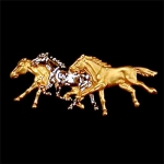 Exselle Three Running Horses Stock Pin
