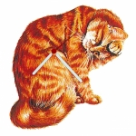 Ginger Tabby Cat Cleaning Shaped Clock