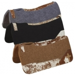 Hair On Wear Leather Felt Contoured Saddle Pad with Cross Motif