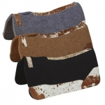 Hair On Wear Leather Felt Contoured Saddle Pad with Team Roper Motif