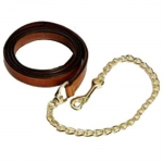 HDR Lead Adv. 6ft Leather Lead w/ 24in Solid Brass Chain - OAKBARK, 6FT