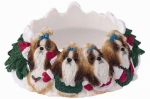 Holiday Candle Topper - Shih tzu Tan and White
