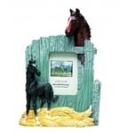 Horse Picture Frame - Two Horses with Barn Door