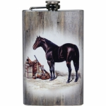 Horse with Gun & Saddle Flask Design Stainless Steel Flask with Loading Funnel