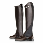 Horze Calf Leather Half Chaps with Wide Elastic