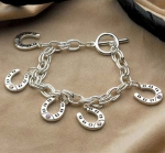 Kelley Equestrian Horse Shoe Charm Bracelet with Rhinestones