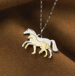 Kelley Equestrian Mare and Foal Two Toned Necklace