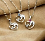 Kelley Equestrian Mare and Foal Heart Horse Necklace
