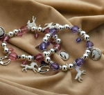 Kelley Equestrian White Horse Beaded Charm Bracelet