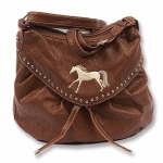 Kelley Ladies Faux Leather Handbag with Embroidered Horse