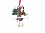 Personalized Dangling Dog Ornament - Basset Hound