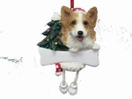 Personalized Dangling Dog Ornament - Corgi