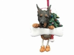 Personalized Dangling Dog Ornament - Doberman