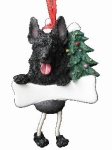 Personalized Dangling Dog Ornament - German Shepherd Black