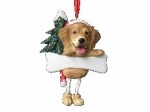 Personalized Dangling Dog Ornament - Golden Retriever