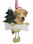 Personalized Dangling Dog Ornament - Labrador Yellow