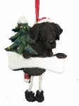Personalized Dangling Dog Ornament - Labrador Black