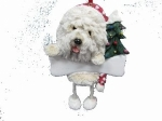 Personalized Dangling Dog Ornament - Old English Sheepdog