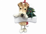 Personalized Dangling Dog Ornament - Wire Fox Terrier