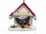Personalized Doghouse Ornament - Chihuahua Black