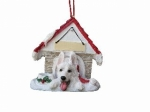 Personalized Doghouse Ornament - German Shepherd White