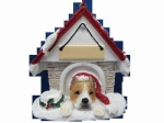 Personalized Doghouse Ornament - Pit Bull Tan and White