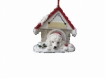 Personalized Doghouse Ornament - Poodle White