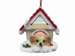 Personalized Doghouse Ornament - Shih Tzu Tan and White Puppy Cut
