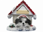 Personalized Doghouse Ornament - Shih Tzu Black and White Puppy Cut