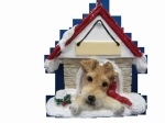 Personalized Doghouse Ornament - Wire Fox Terrier