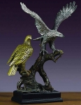 "Pewter and Gold Finish 18"" Two Eagles Sculpture"