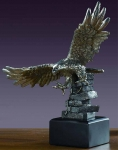 "Pewter Finish 11.5"" Eagle Coming in for the Kill Sculpture"
