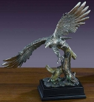 "Pewter Finish 16.5"" Landing Eagle Sculpture"