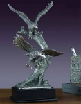 Pewter Finish Two Eagles Sculpture