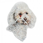 Poodle White Head Shaped Clock