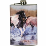 Running Horses Design Stainless Steel Flask with Loading Funnel