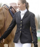 Shires Equestrian Ladies Show Coat with Gold Trim with Velvet collar