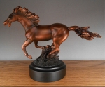 Smooth Bronze Finish Galloping Horse Sculpture