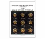 "Solid Brass Spur Rowel Card 9 pairs ⅞"" to 1 ¼"""
