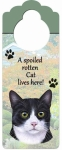Spoiled Cat Doorknob Notes - Black and White Cat