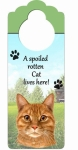 Spoiled Cat Doorknob Notes - Orange Tabby Cat