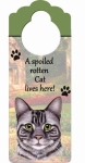 Spoiled Cat Doorknob Notes - Silver Tabby Cat