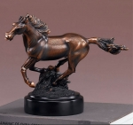 Textured Bronze Finish Galloping Horse Sculpture