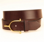 "Tory Leather 1 1/2"" Havana Belt with Brass Spur Buckle"