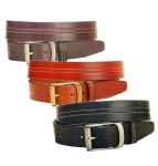 "Tory Leather 1 1/2"" Double CENTER Stitch Belt with Brass Roller Buckle"